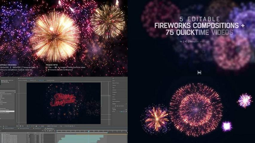 Редактируемый шаблон фейерверка - After Effects Project