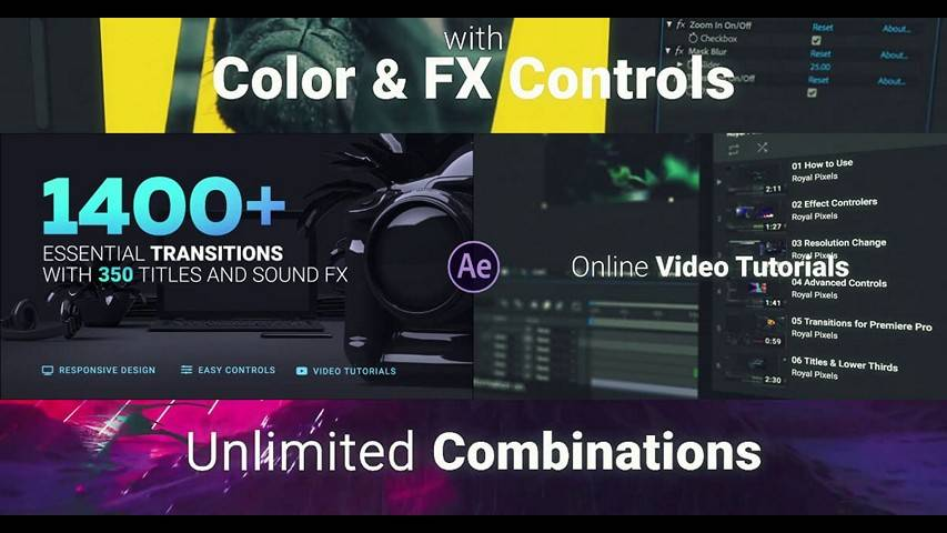 VideoHive: 1400+ Transitions v5 for After Effects Project