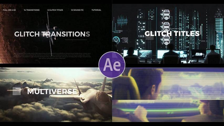 Videohive: Glitch Transitions - Free AE Template