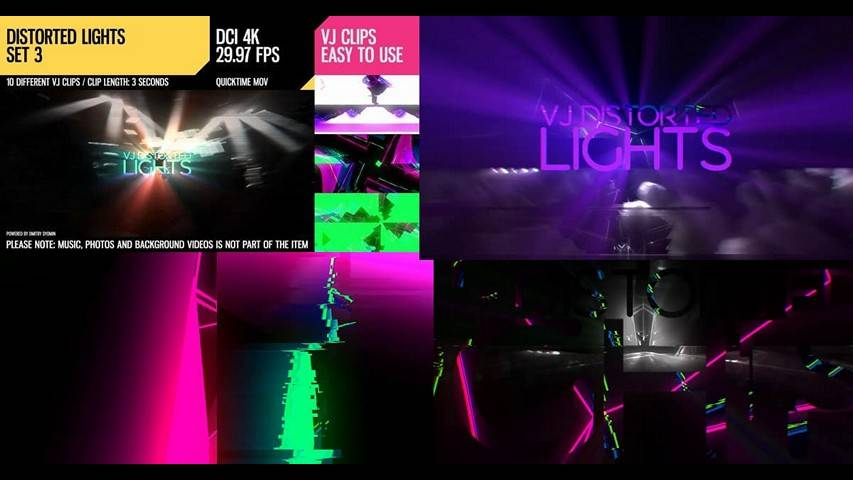 VJ Distorted Lights 4K Video - Free Motion Graphics Loops